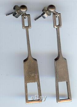 Tone Vigeland Norway Plus Workshop Vintage Modernist Sterling Dangle Earrings