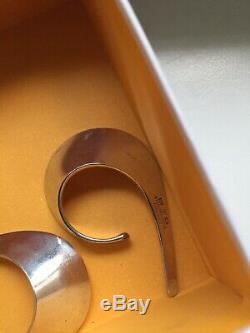 Tone Vigeland Norway Vintage Sterling Silver Modernist Ear Cuff Sling Earrings