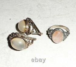True Antique Art Deco Art Nouveau Sterling Silver 925 Earrings & Ring Moonstone
