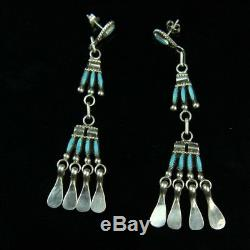 Turquoise cluster stud earrings Vintage pawn Native American sterling silver