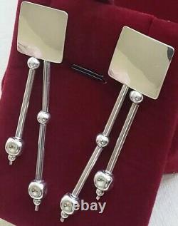 Unique Vintage Art Deco Modernist Geometric 925 Sterling Silver Drop Earrings