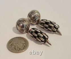 Unique Vintage Native American Sterling Silver Corn or Pepper Design Earrings