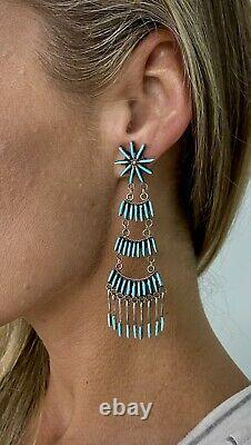 VERY OLD Vintage Zuni Sterling Silver Turquoise Long Chandelier Dangle Earrings