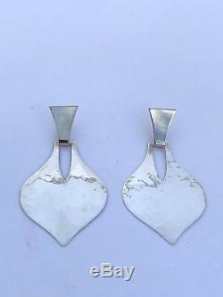 VERY RARE Vintage James Avery Sterling & 14K Hammered Teardrop Dangle Earrings
