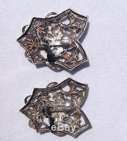 VINTAGE 1988 STEPHEN DWECK BEAUTIFUL STERLING SILVER CLIP ON With HEXAGON DROP