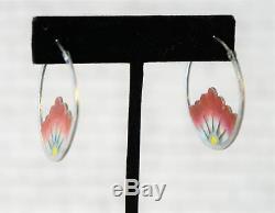 VINTAGE 70s Sterling Silver Red Pink Floral Cloisonne Hoop Earrings