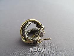VINTAGE 750 18K GOLD & STERLING DAVID YURMAN HOOP CABLE TWIST PIERCED EARRINGS