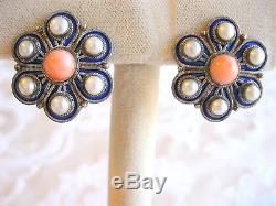 Vintage 925 Sterling Silver Flower Earrings Angel Skin Coral Pearl Blue Enamel