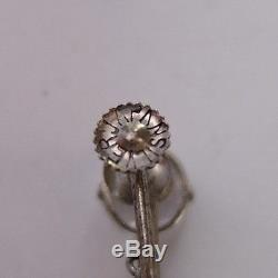 Vintage Art Deco Sterling Silver Faceted Genuine Quartz Rock Crystal Earrings