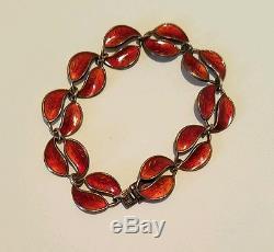 Vintage David Andersen Sterling Silver Red Enamel Leaf Bracelet And Earrings