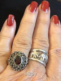 VINTAGE ESTATE LOT STERLING GEMSTONE GARNET signed EARRINGS RING NECKLACE PEARL