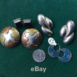 Vintage Handmade Lot Of 27 Pair, Sterling Silver Made In Mexico Earrings