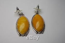 Vintage Large Natural Egg Yolk Baltic Amber Large Dangle Earrings/ 925 Sterling