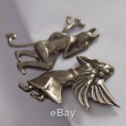 Vintage Mexican Sterling Silver Whispering Devil & Angel Screw Back Earrings