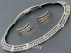 VINTAGE MEXICAN TAXCO STERLING SILVER 925 COLLAR NECKLACE AND EARRINGS SET 103g