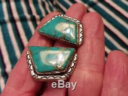 VINTAGE NAVAJO MORENCI WithPYRITE TURQUOISE STERLING SILVER EARRINGS