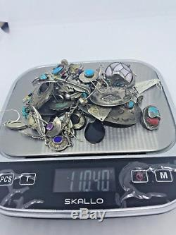VINTAGE NAVAJO Scrap STERLING SILVER Repair 110gr LOT Earrings MULTISTONE