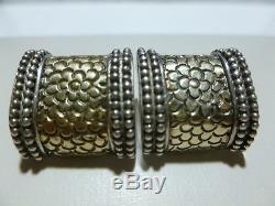 Vintage Rare John Hardy Jh Sterling Silver 18k Gold Floral Flower Earrings Pair
