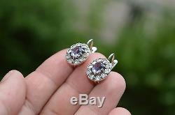 VINTAGE Russian Soviet stamp USSR Earrings Sterling SILVER 875 OLD Alexandrite $