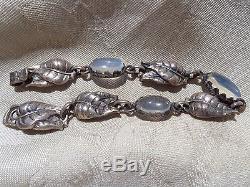 Vintage Signed Guglielmo Cini Sterling Moonstone Cab Bracelet Earrings Set