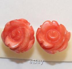 VINTAGE STERLING 14K GOLD 14mm PINK CORAL ROSE FLOWER HAND CARVED STUD EARRINGS