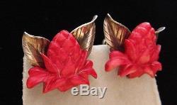 Vintage Sterling Ming's Of Honolulu Ginger Flower Earrings