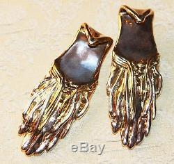 Vintage Sterling Modernist Freeform Hand Forged Artist Signed Je Earrings