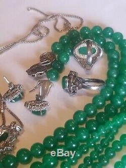 VINTAGE STERLING SILVER 925 2 Green Jade ring 7 & Earrings Bracele 3 tnecklaces