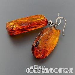 Vintage Sterling Silver Honey Baltic Amber Huge Rock Dangle Hook Earrings