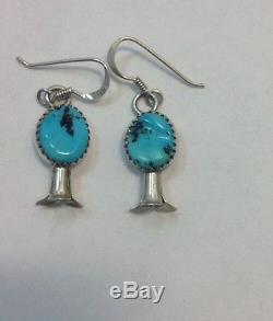 VINTAGE STERLING SILVER TURQUOISE SQUASH BLOSSOM NECKLACE EARRINGS ROAN HORSE NR