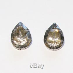 VINTAGE STYLE Stud Earrings Uncut/Rose Cut Diamond Sterling Silver 18k Gold