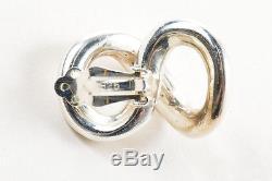 VINTAGE Sterling Silver Figure Eight Infinity Shape Clip On Earrings