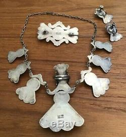 VINTAGE Sterling Silver Mexico Parure Necklace Brooch Earrings Ring 1940s 83 gr