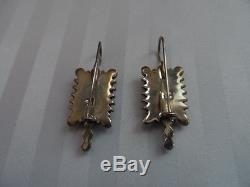 VINTAGE Stunning Sterling Silver. 925 Earrings w LAPIS LAZULI 1 1/2'' long