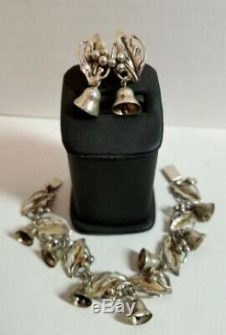 VINTAGE TAXCO Mexico 925 Sterling Silver Holly Bells Bracelet & Earrings