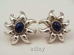 Vintage Tiffany & Co 925 Sterling Silver Lapis Clip On Earrings Sun Design