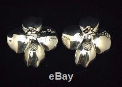 Vintage Tiffany & Co. Sterling Silver Nature Dogwood Earrings Pierced 1 1/2