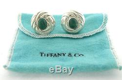 VINTAGE TIFFANY & Co. STERLING SILVER MALACHITE EARRINGS ITALY RARE WITH POUCH