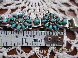 Vintage Zuni Bracelet Earrings Ringsterling Silver Needlepoint Turuqoise Concho