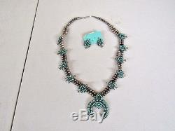 Vintage Zuni Sterling Silver & Turquoise Squash Blossom Necklace 26 & Earrings
