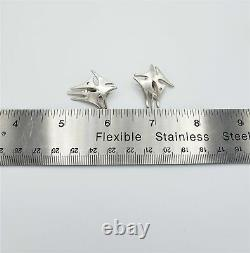 VNTG B&L Denmark 925 Sterling Silver Abstract Modernist Earrings Circa 50s-60s