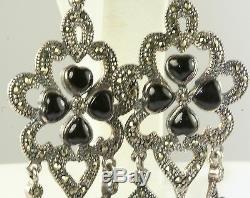 Vtg 1980's Vintage Antique Design Sterling Silver Marcasite Onyx Long Earrings
