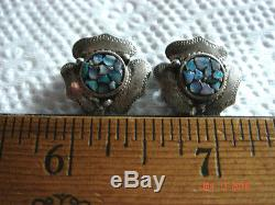 VTG 30's SIGNED CANDIA STERLING SILVER BLUE FIRE OPAL INLAY FLORAL CLIP EARRINGS