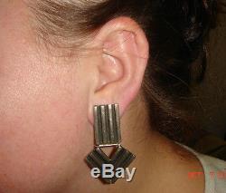 Vtg 925 Sterling Silver Bohemian Huge Modernist Bold Jointed Arrow Clip Earrings