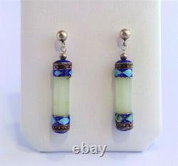 VTG Antique Chinese STERLING Silver JADE Cloisonne Enamel EXPORT Earrings