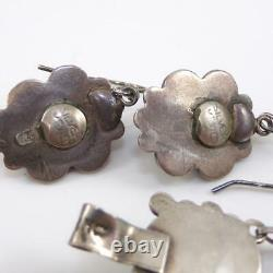 VTG EARLY Taxco Mexico Sterling Silver Carved Face Bracelet Earring Set LHB5