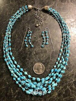 VTG Jay King Sterling Liquid Silver Turquoise Necklace & Earrings Set 925 DTR