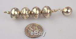 Vtg Long Sterling Silver Navajo Pearl 12.7 MM Engraved Ball Pierced Earrings