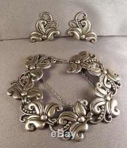 Vtg Margot De Taxco Sterling Hibiscus Bracelet & Earrings Signed 5488