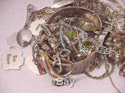 Vtg Necklace Bracelet Earrings Indian Charms Sterling Silver Scrap Jewelry Lot